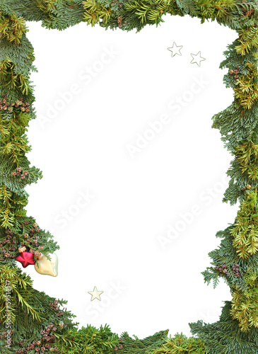weihnachtlicher rahmen aus eiben und thujen stockfotos. Black Bedroom Furniture Sets. Home Design Ideas