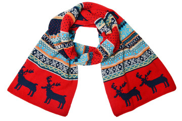 woolen knitted scarf with the Scandinavian pattern