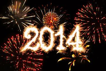 Happy New Year 2014 Fireworks .