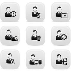 Human resource icons,Black buttons,vector