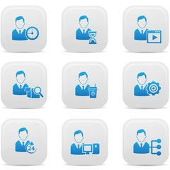 Human resource icons,White buttons,vector