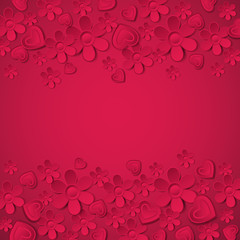 red valentine background with many flowers,  vector
