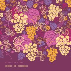 Vector sweet grape vines horizontal border seamless pattern