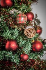 Colored balls hanging on the Christmas tree