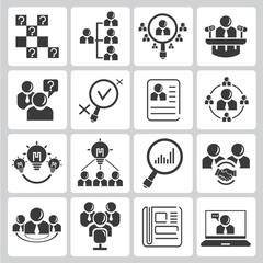 human resource, business management icons