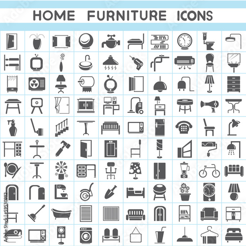 Interior Design Collections Furniture Icons Set