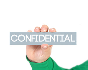 woman holding a label with confidential