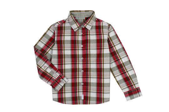 Red checkered boy shirt isolated on white