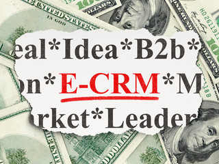 Business concept: E-CRM on Money background