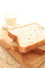 Rye bread on white background with copy space