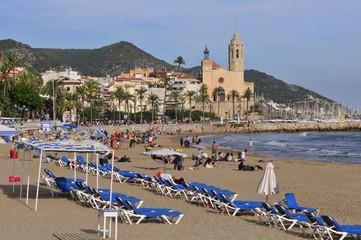 Sunset light in Sitges beach, mediterranean sea coast