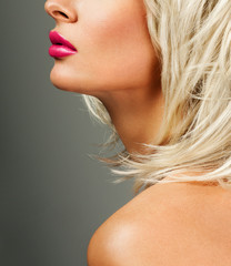 beautiful blonde  woman with bright lipstick