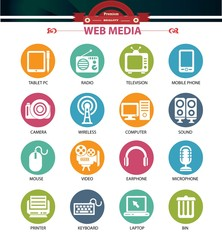 Web media icons,Colorful buttons version,vector