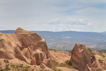 Rose Valley in Cappadocia on the background vulkaga Erdzhies
