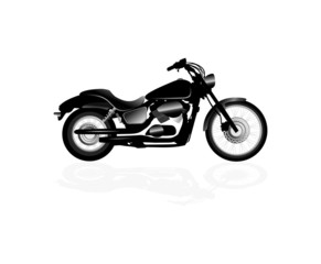 Fototapete - Black motorcycle silhouette isolated on white background