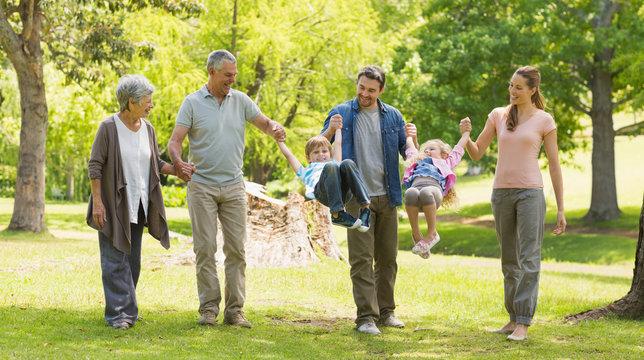 Full length of an extended family in park