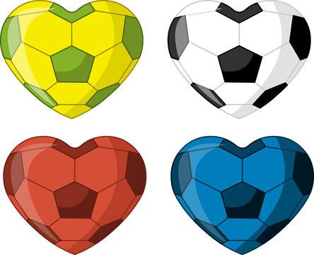 Football soccer ball in shape of heart