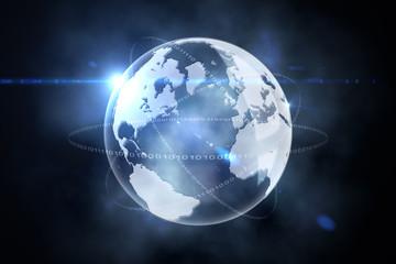Glowing earth with binary code