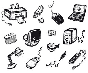 Doodle Computer And Technology Icons