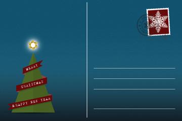 Postkarte blaue Weihnachtskarte