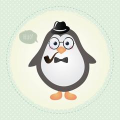 Hipster Penguin Textured Frame design illustration