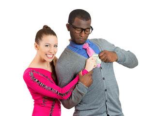 woman taking money from boyfriend man on white background