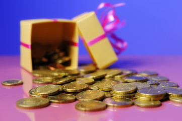 Euro coins in a gift box