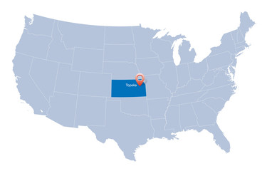 USA map with the indication of State of Kansas and Topeka town