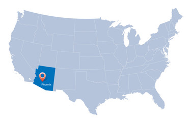 map of USA with the indication of State of Arizona and Phoenix