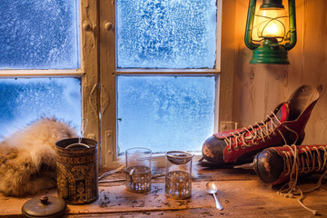 Fototapete - Preparation for tea on a cold day in winter