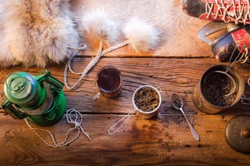 Fototapete - Warm tea on a winter day