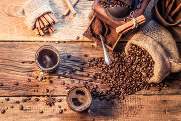 Wall Mural - Enjoy your coffee made of grinding grains