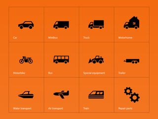 Cars and Transport icons on orange background.