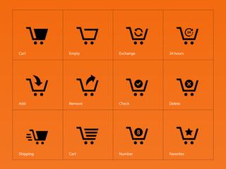 Shopping cart icons on orange background.