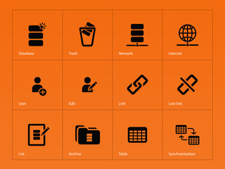 Database icons on orange background.