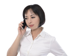 Portrait of the beautiful nice woman talking on cell phone