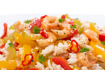 rice with vegetables and shrimps, close-up, isolated