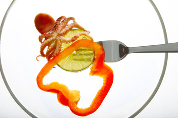 small octopus on fork