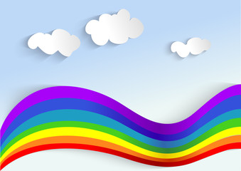 background with rainbow and clouds, applique