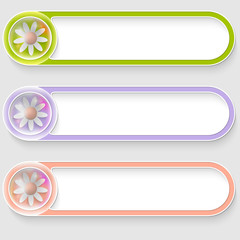 set of three vector abstract buttons with flowers