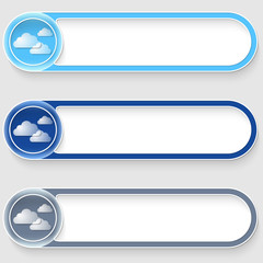 set of three vector abstract blue buttons with clouds