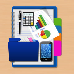 Smartphone with folder and graph  on notebook,creative business,