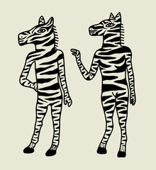 A Couple of Zebra Illustration