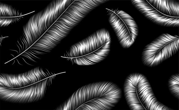 Seamless background with white feathers on black background