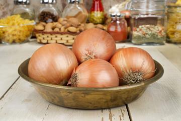 Onions  in copper tray