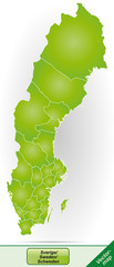 Grenzkarte von Schweden mit Grenzen in Grün