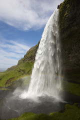 Iceland. South area. Eyjafjalajokul zone. Seljalandsfoss waterfa