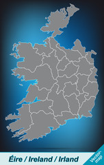 Irland mit Grenzen in leuchtend grau