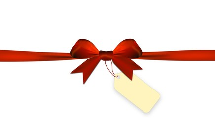 Red bow isolated on a white background with price tag