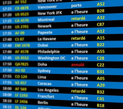 écran départs aéroport bleu en français